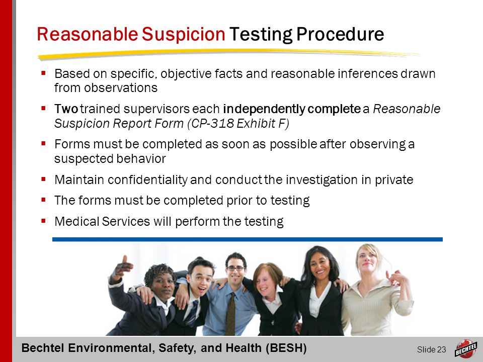Reasonable Suspicion Testing Procedure