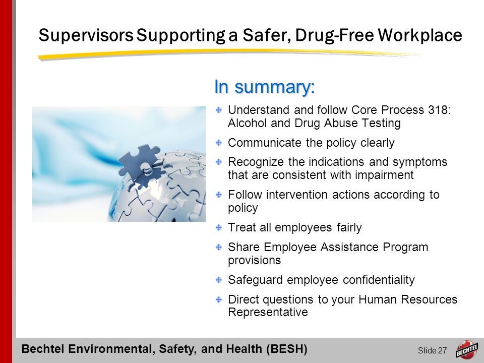 Supervisors Supporting a Safer, Drug-Free Workplace