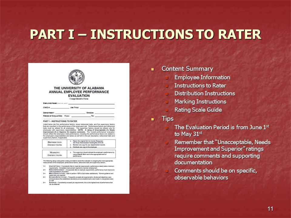 PART I – INSTRUCTIONS TO RATER