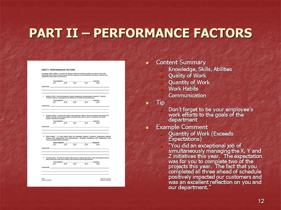 PART II – PERFORMANCE FACTORS