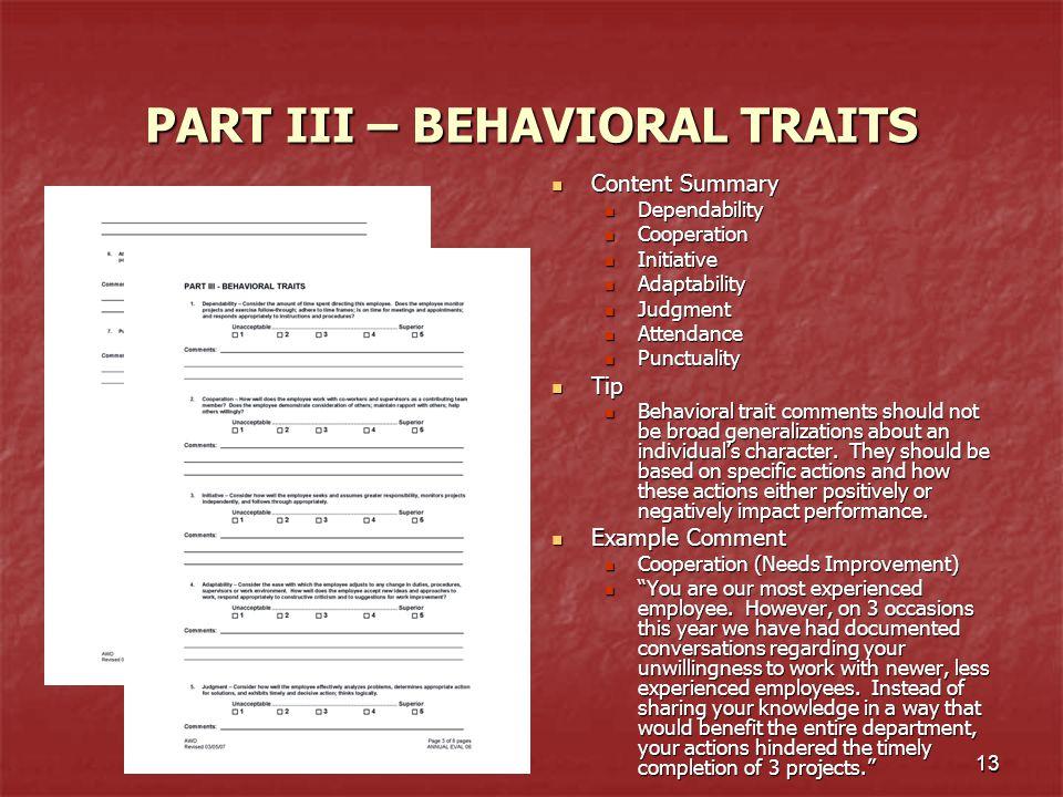 PART III – BEHAVIORAL TRAITS