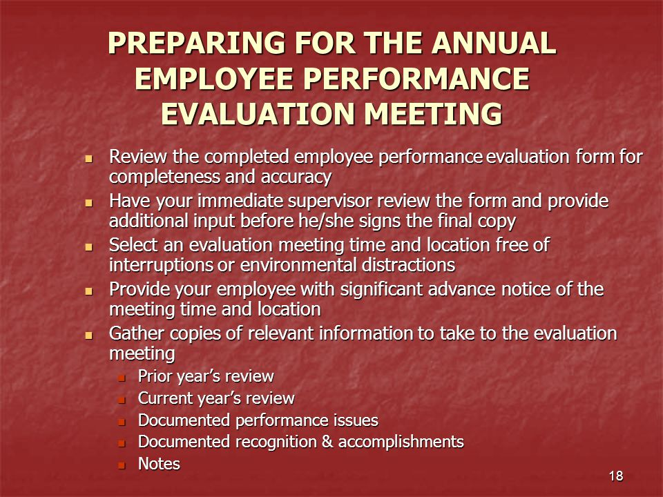 PREPARING FOR THE ANNUAL EMPLOYEE PERFORMANCE EVALUATION MEETING