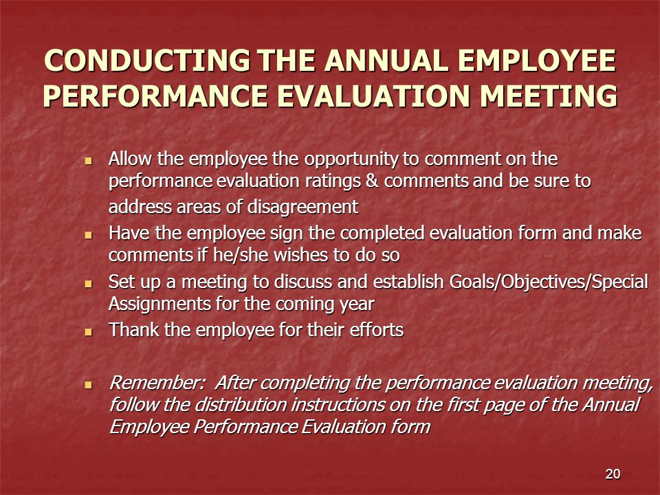 CONDUCTING THE ANNUAL EMPLOYEE PERFORMANCE EVALUATION MEETING