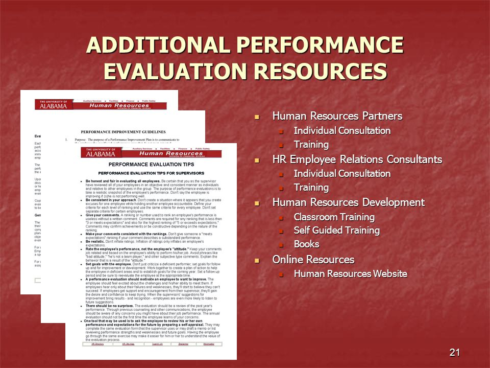 ADDITIONAL PERFORMANCE EVALUATION RESOURCES