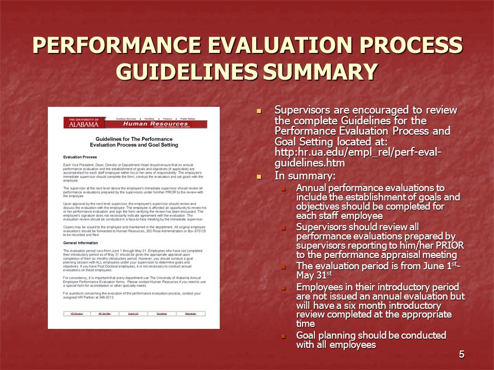 PERFORMANCE EVALUATION PROCESS GUIDELINES SUMMARY