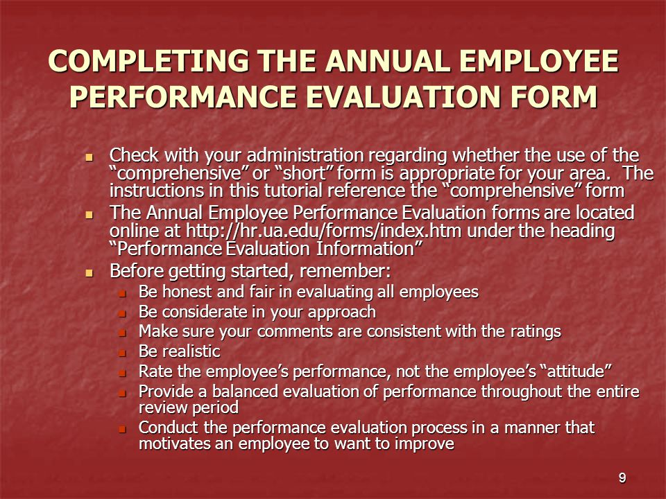 The University of Alabama Annual Employee Performance Evaluation – Performance Evaluation Forms