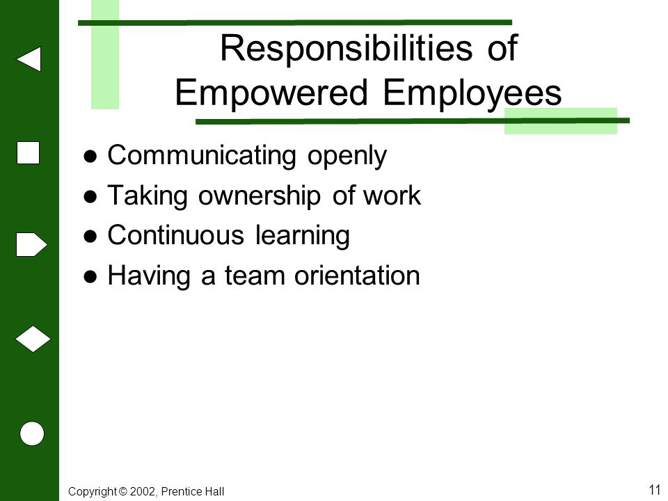 Responsibilities of Empowered Employees