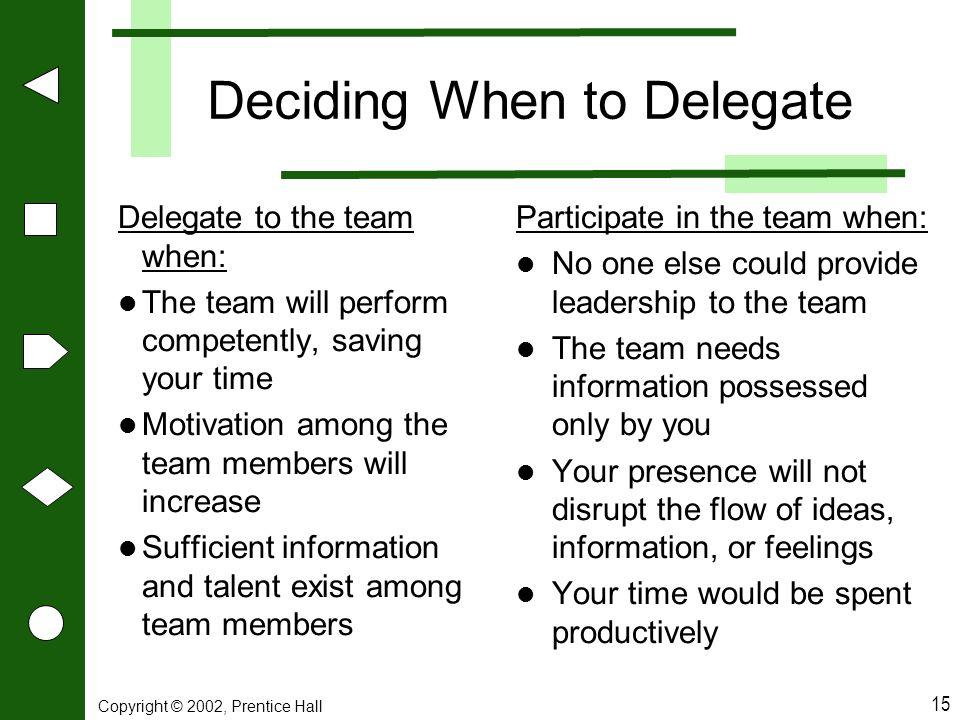 Deciding When to Delegate