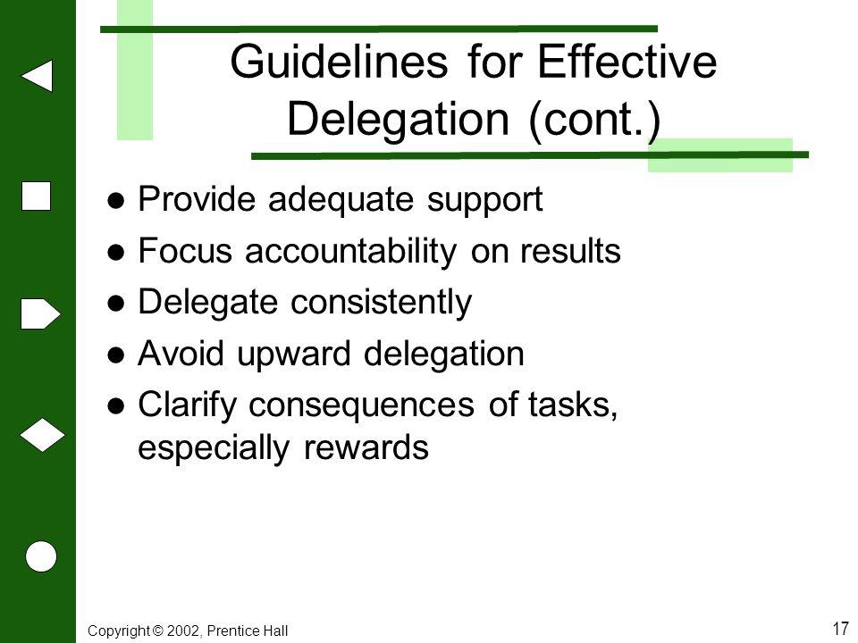 Guidelines for Effective Delegation (cont.)