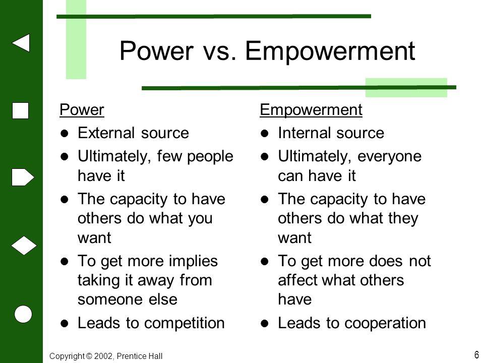 Power vs. Empowerment Power External source
