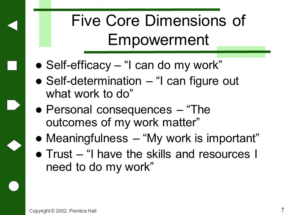 Five Core Dimensions of Empowerment