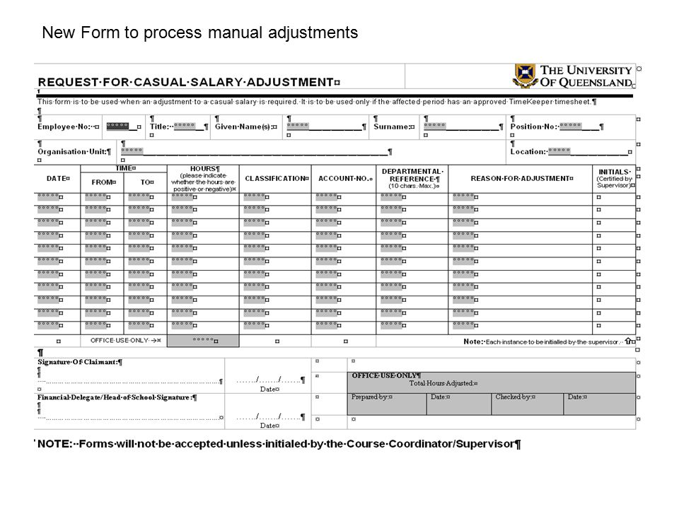 New Form to process manual adjustments