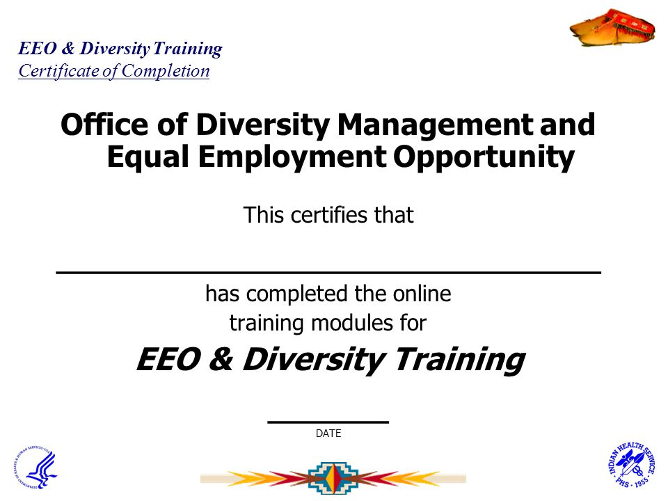 EEO & Diversity Training Certificate of Completion