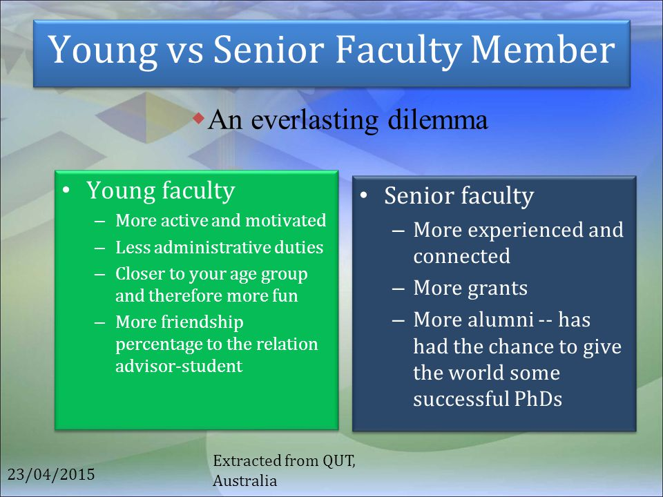 Young vs Senior Faculty Member