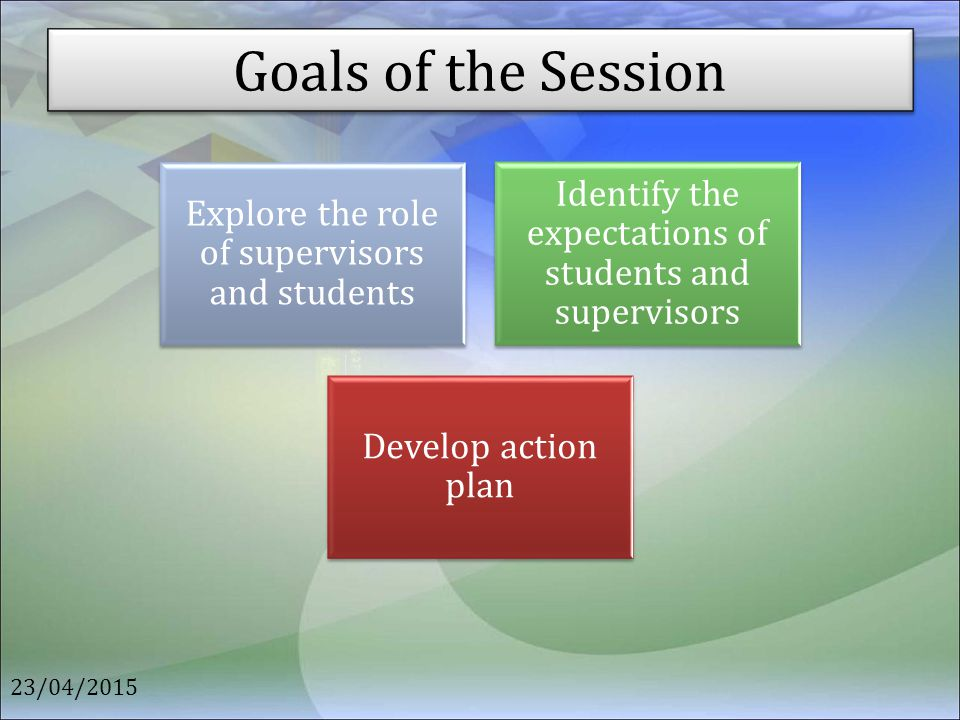 Goals of the Session Explore the role of supervisors and students. Identify the expectations of students and supervisors.