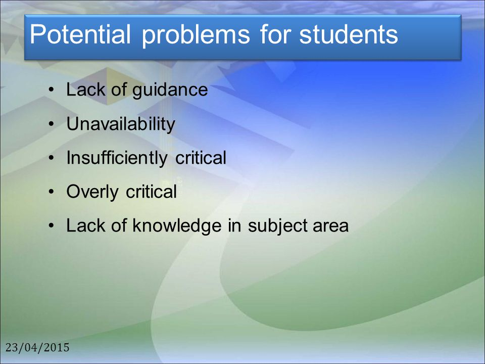 Potential problems for students