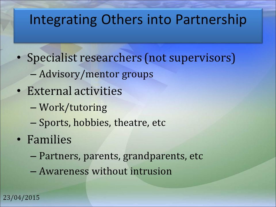 Integrating Others into Partnership