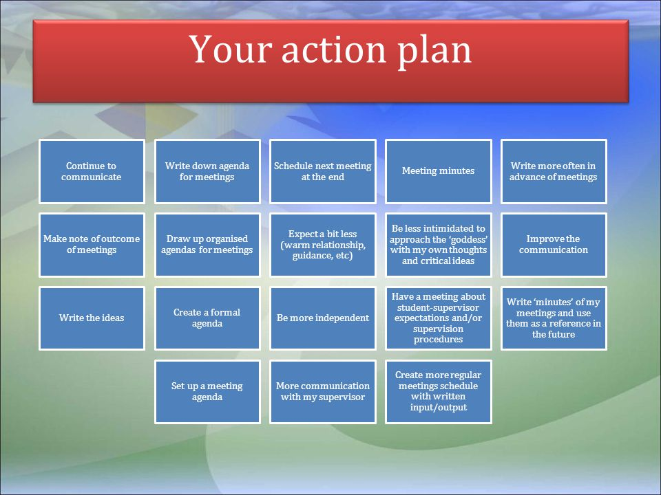 Your action plan Continue to communicate