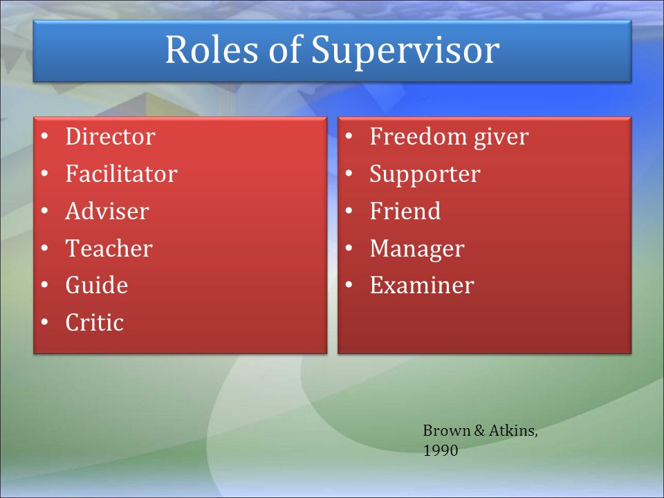 Roles of Supervisor Director Facilitator Adviser Teacher Guide Critic