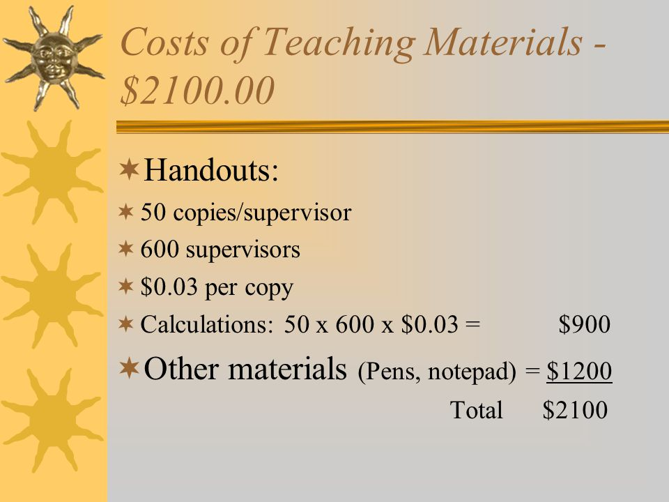 Costs of Teaching Materials - $2100.00