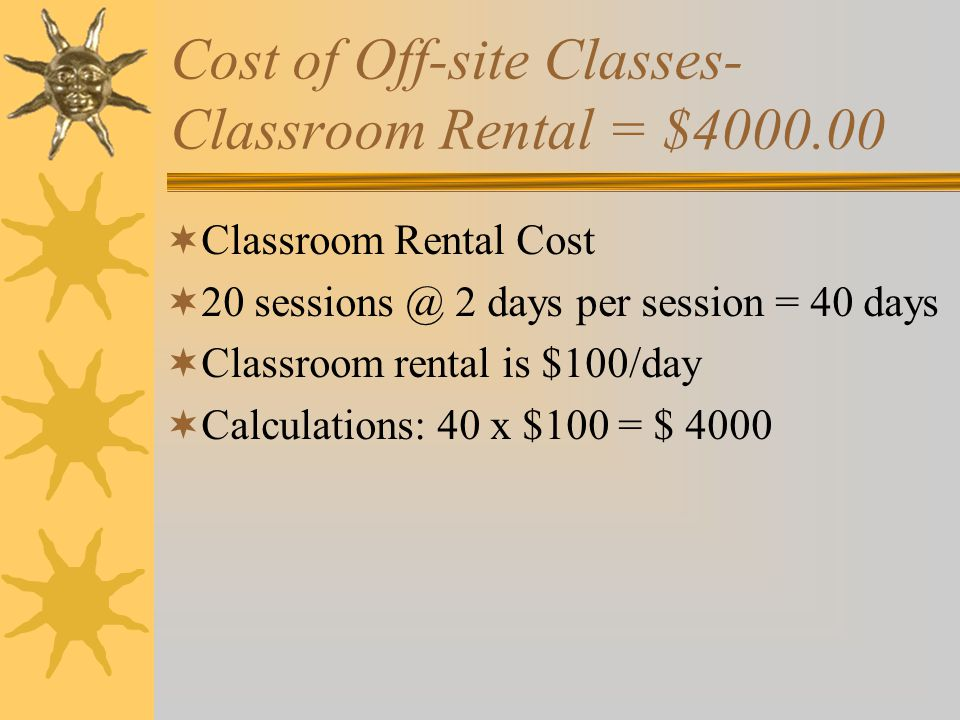 Cost of Off-site Classes- Classroom Rental = $4000.00