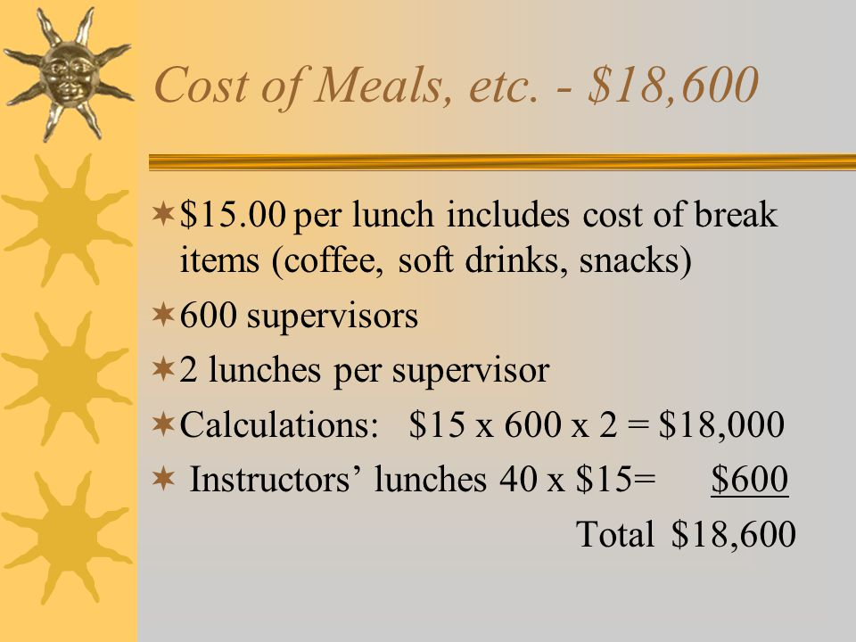 Cost of Meals, etc. - $18,600 $15.00 per lunch includes cost of break items (coffee, soft drinks, snacks)