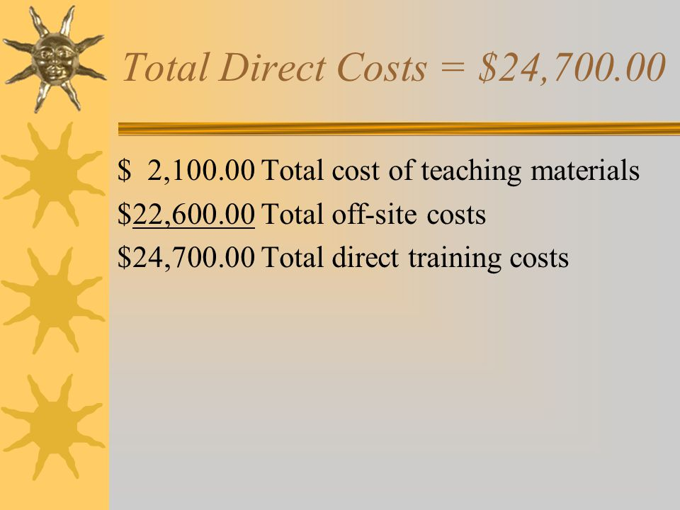 Total Direct Costs = $24,700.00 $ 2,100.00 Total cost of teaching materials. $22,600.00 Total off-site costs.