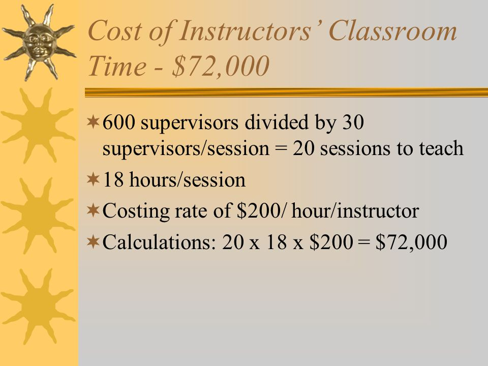 Cost of Instructors' Classroom Time - $72,000