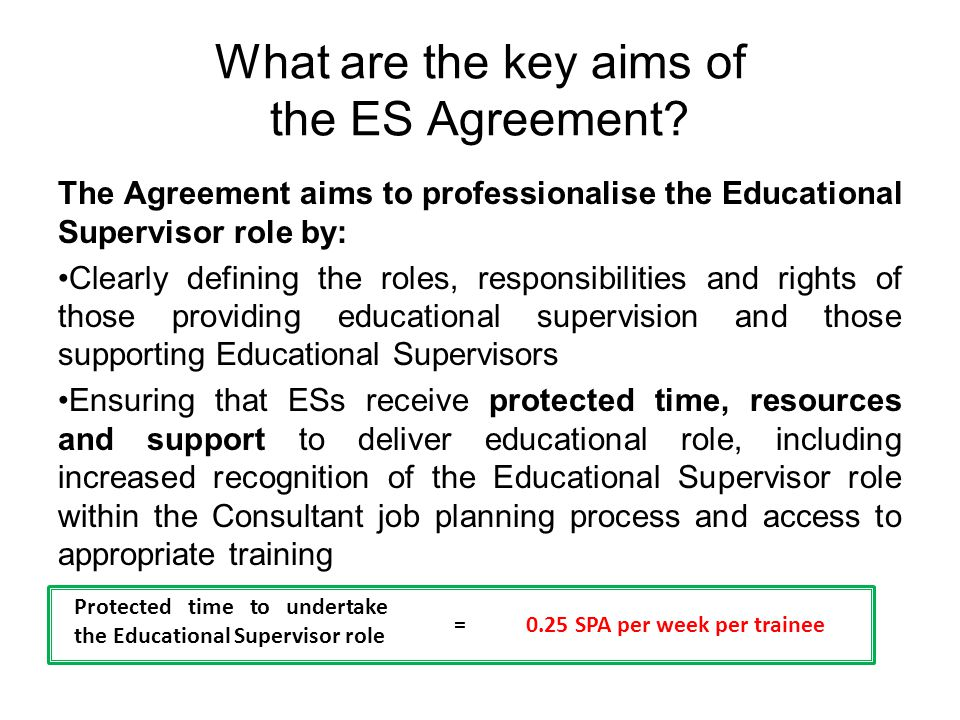 What are the key aims of the ES Agreement