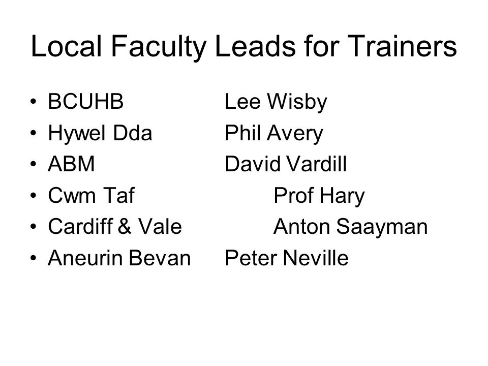 Local Faculty Leads for Trainers