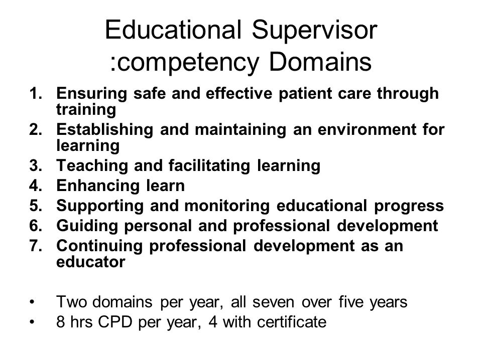 Educational Supervisor :competency Domains