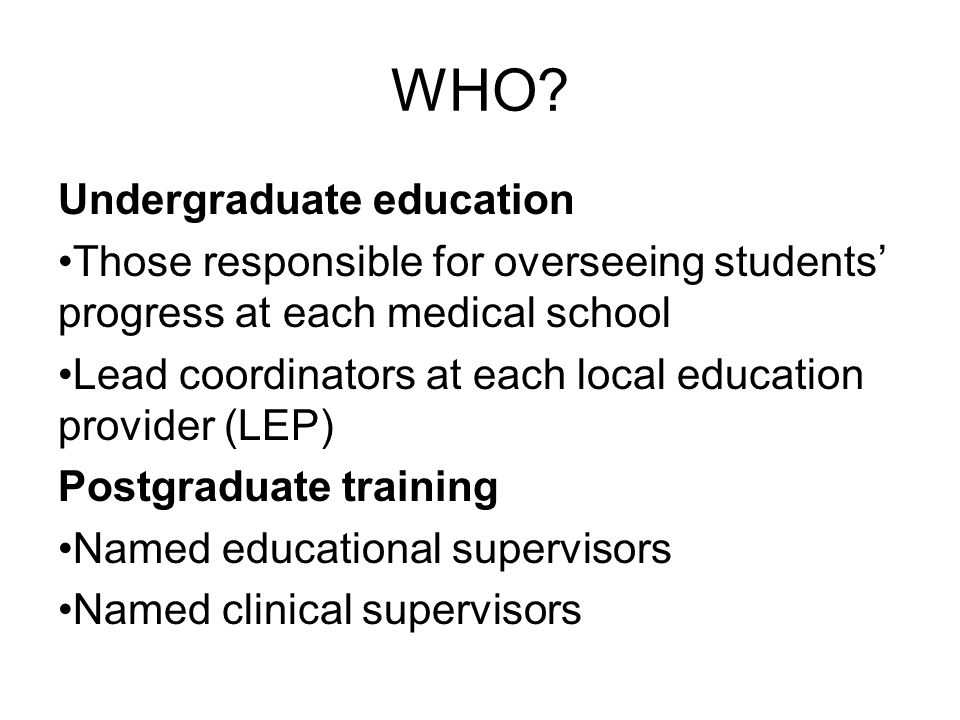 WHO Undergraduate education
