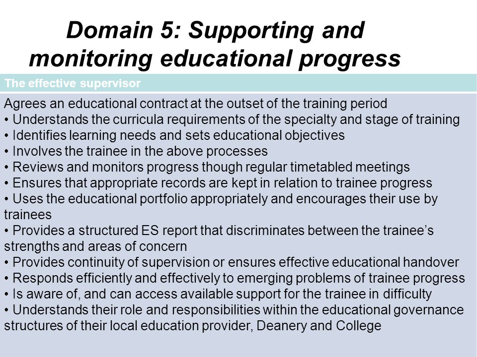 Domain 5: Supporting and monitoring educational progress