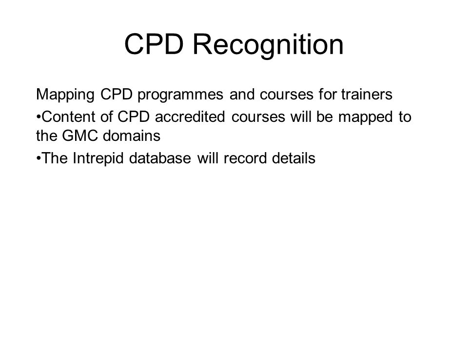 CPD Recognition Mapping CPD programmes and courses for trainers