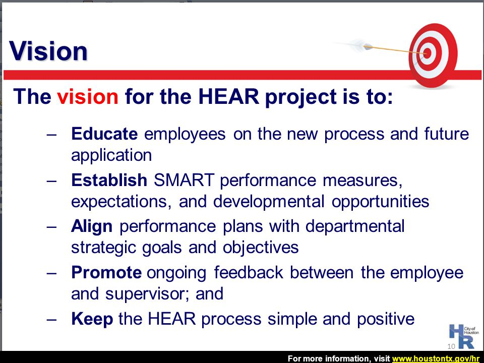 Vision The vision for the HEAR project is to: