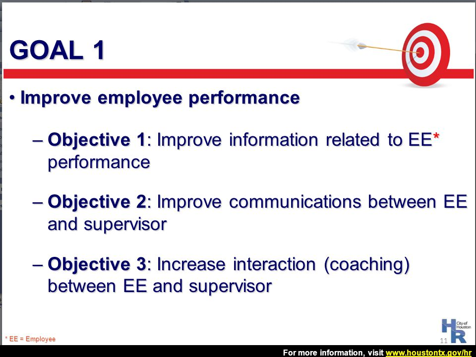 GOAL 1 Improve employee performance