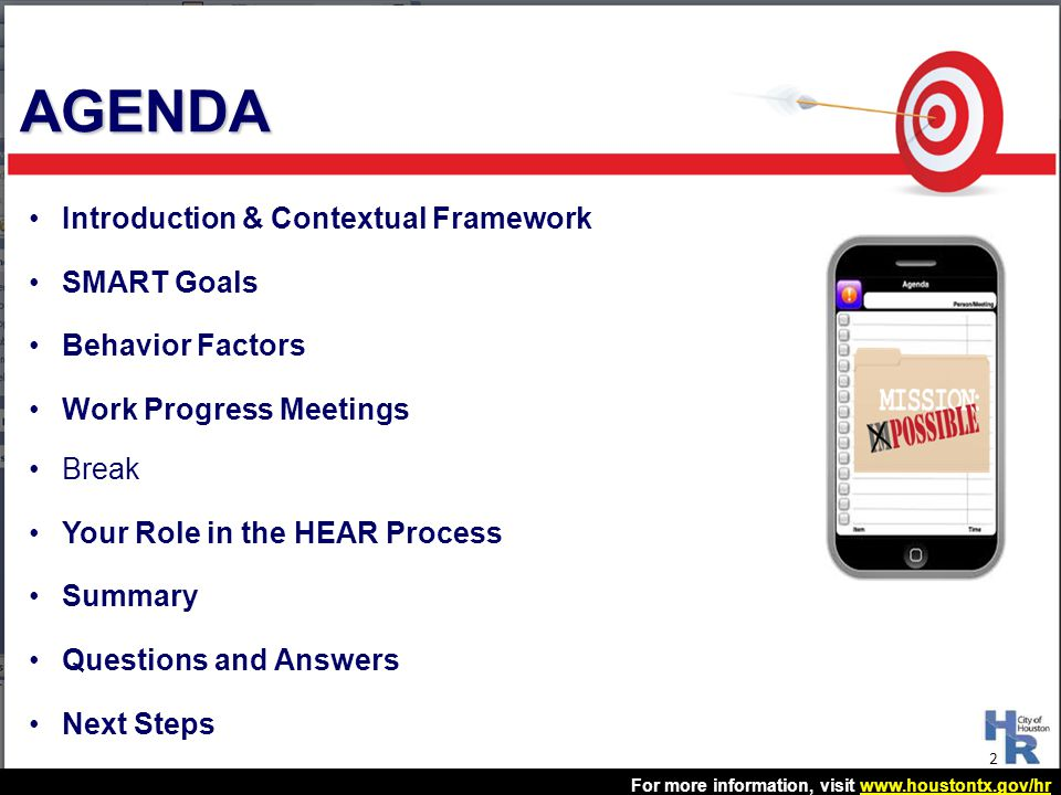 AGENDA Introduction & Contextual Framework SMART Goals