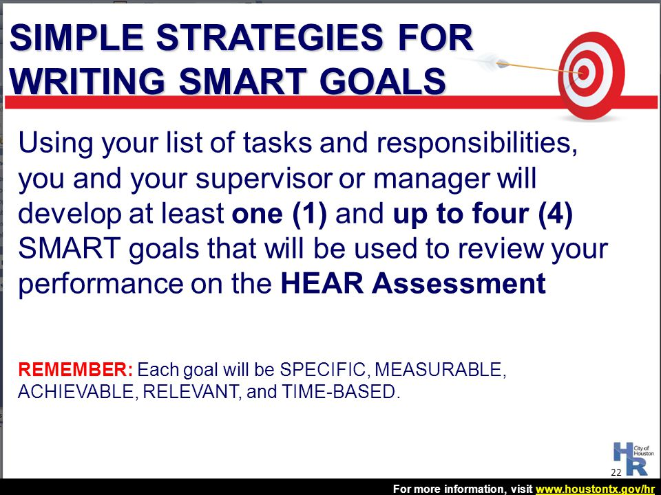 SIMPLE STRATEGIES FOR WRITING SMART GOALS