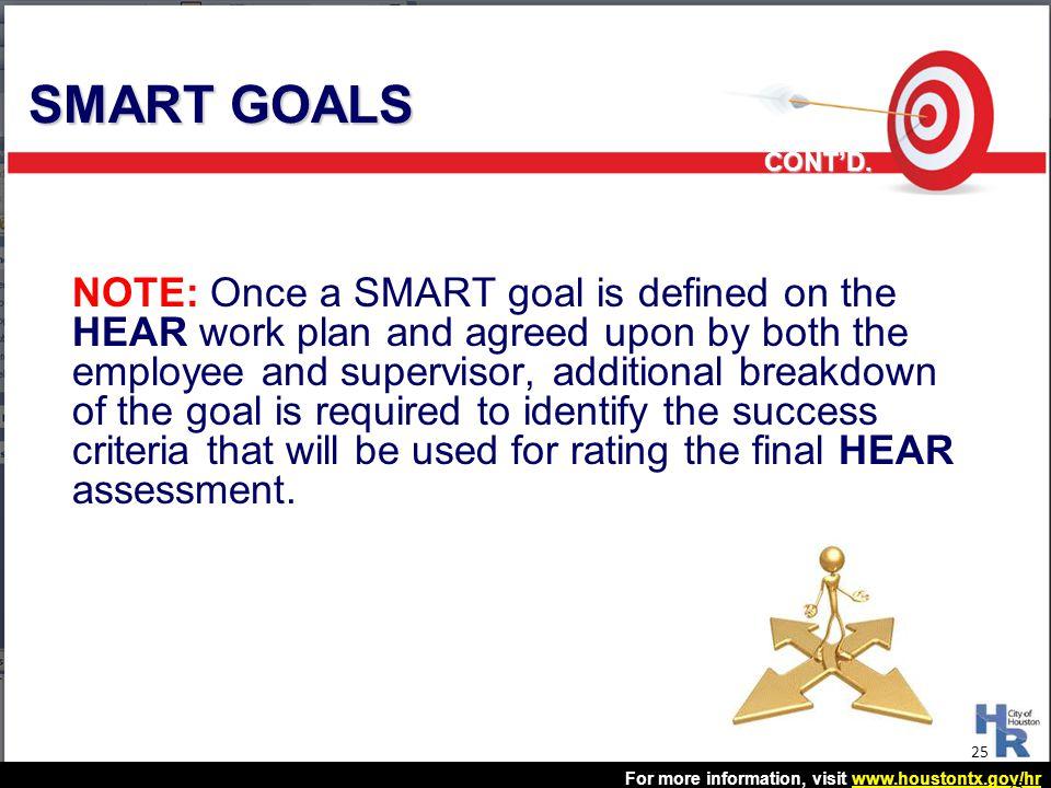 SMART GOALS CONT'D.
