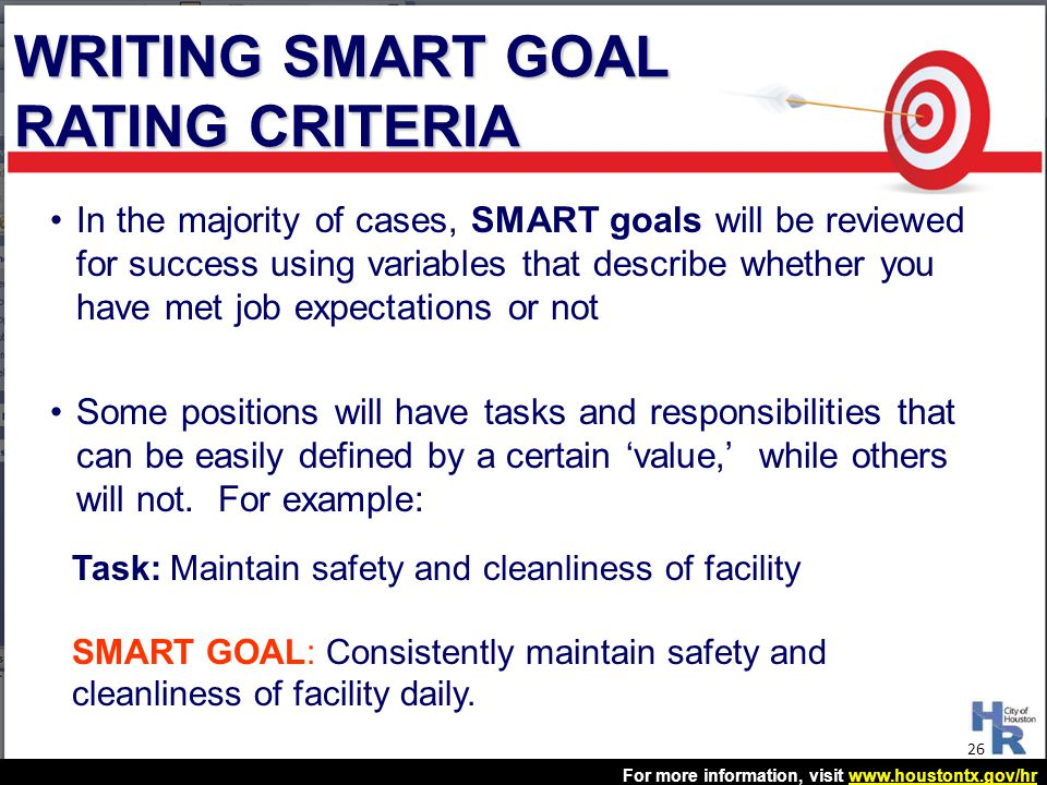 WRITING SMART GOAL RATING CRITERIA