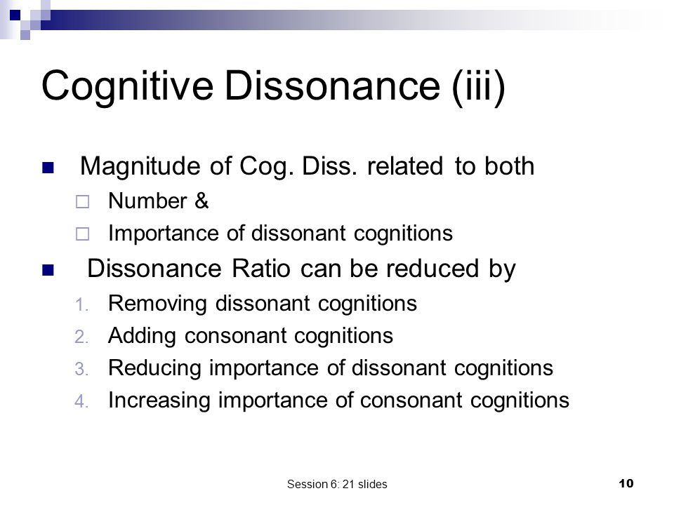Cognitive Dissonance (iii)