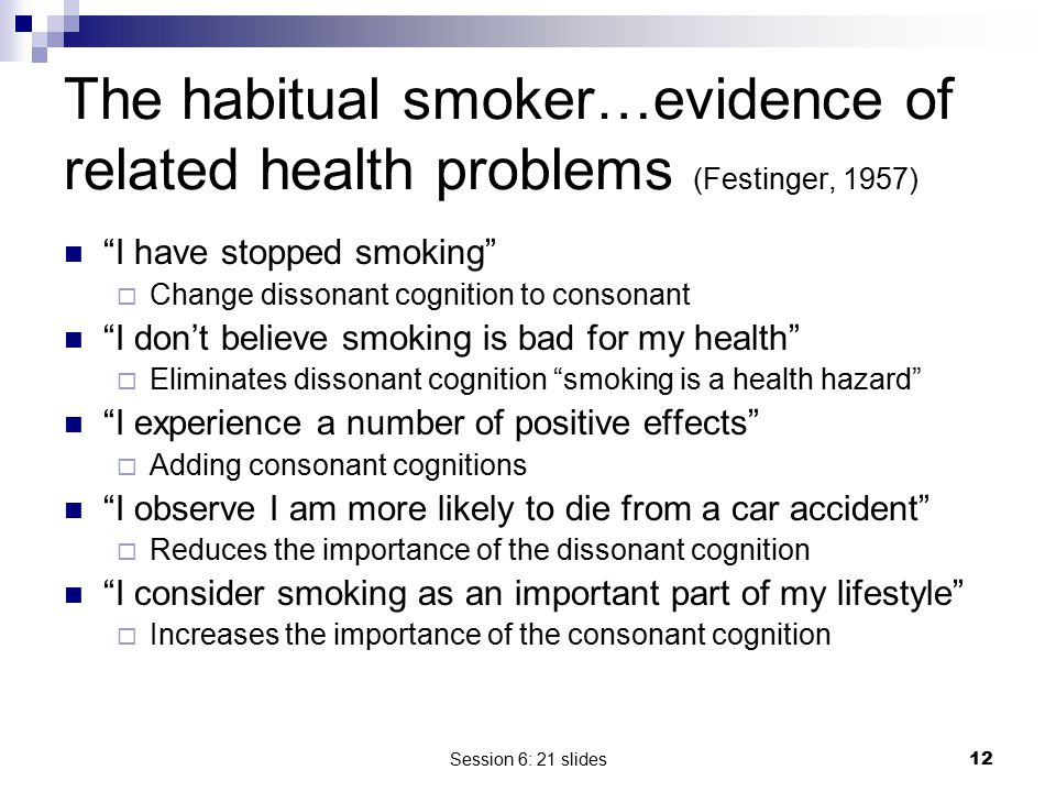 The habitual smoker…evidence of related health problems (Festinger, 1957)