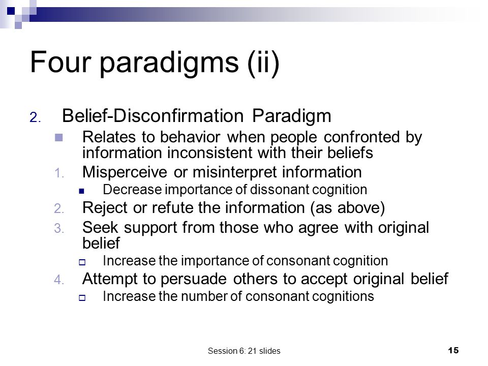 Four paradigms (ii) Belief-Disconfirmation Paradigm