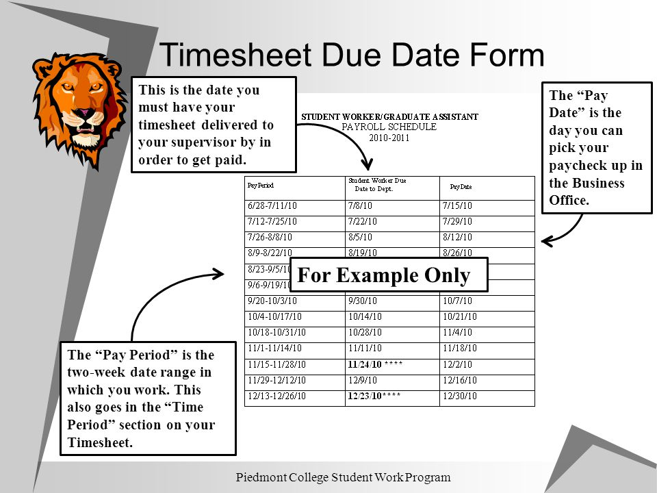 Timesheet Due Date Form