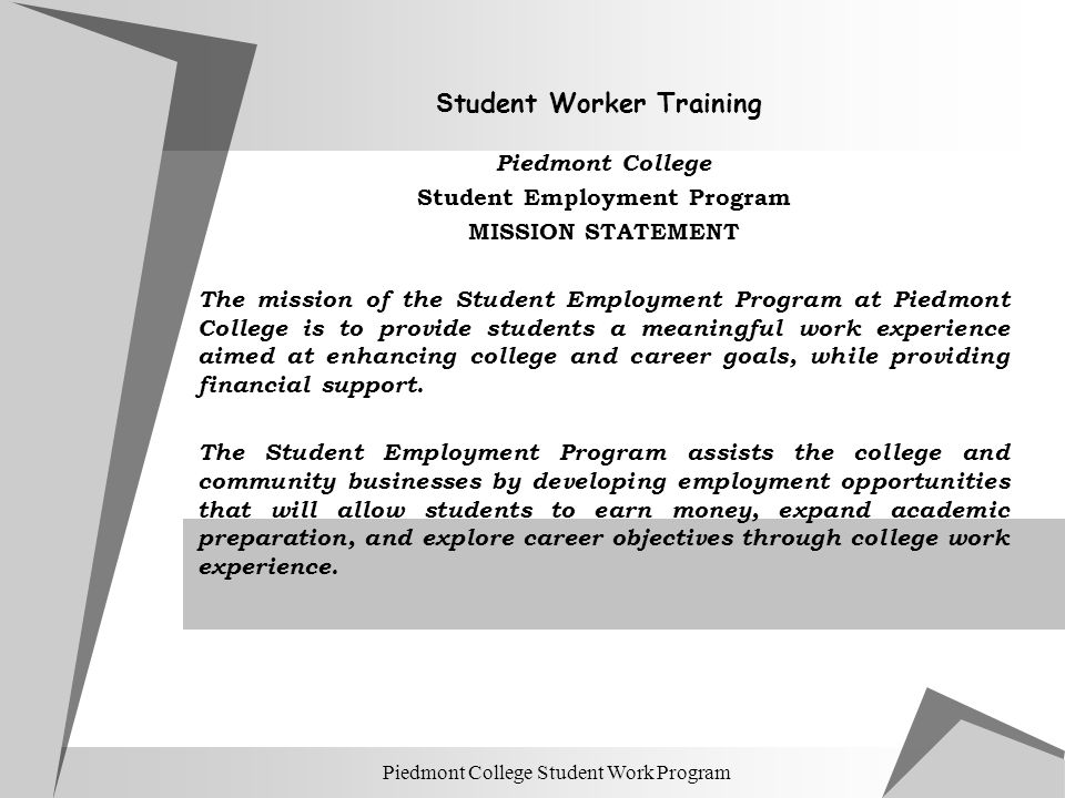 Student Worker Training