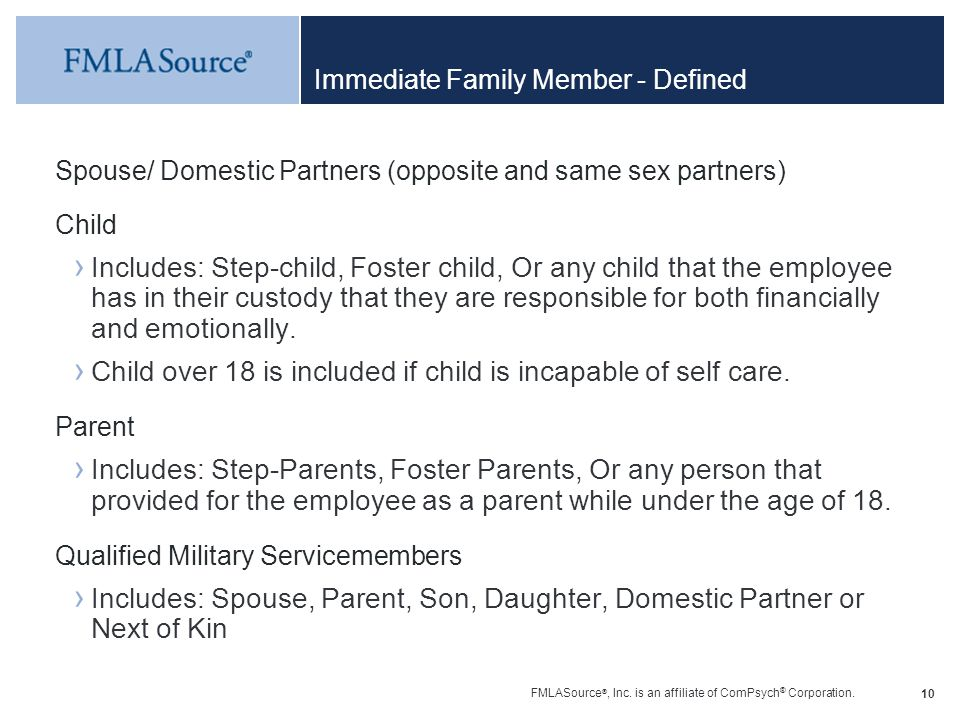 Immediate Family Member - Defined
