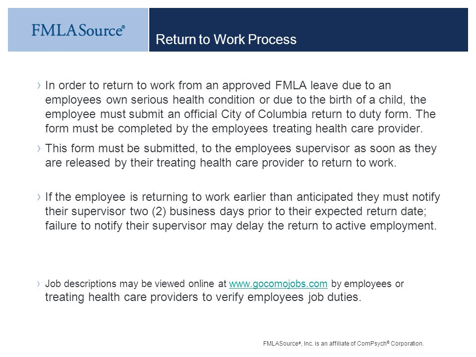 City Of Columbia Fmla Training  Ppt Download