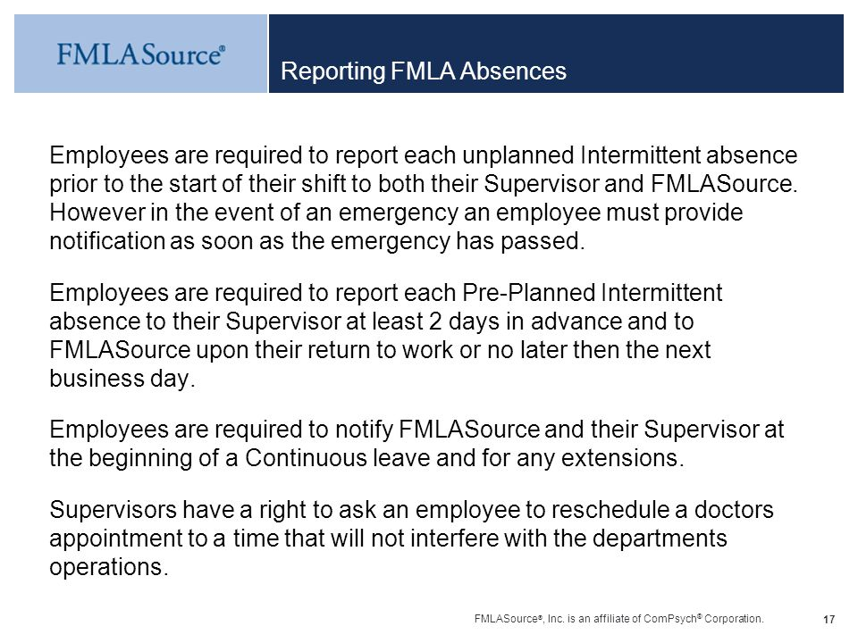 Reporting FMLA Absences