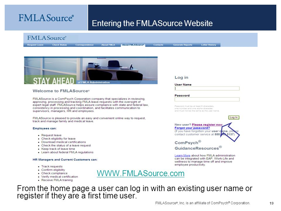 Entering the FMLASource Website