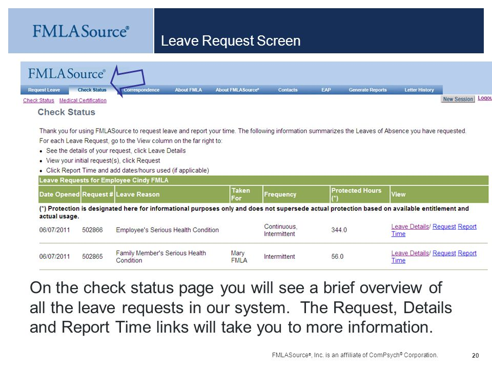 Leave Request Screen